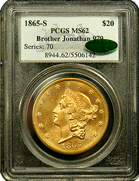 1857 S $20 Liberty Head Gold Coin MS-64 PCGS