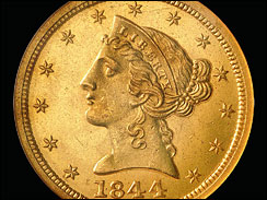 1844 liberty Gold coin obverse